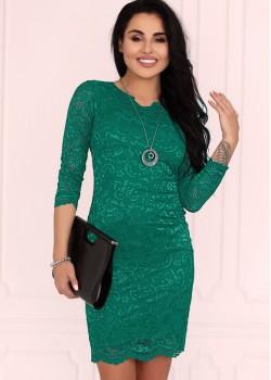 Къса рокля в зелен цвят