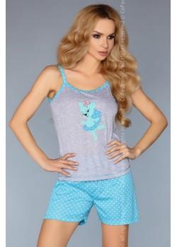 Лятна дамска пижама в цвят тюркоаз