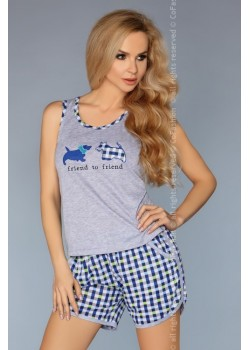 Лятна дамска пижама в син цвят
