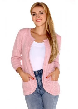 Отворена дамска жилетка в розово Hetiena