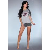 Памучна дамска пижама в сиво Jeanette