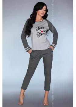 Памучна пижама в сив цвят Linza