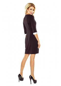 Черна мини рокля с яка 110-4