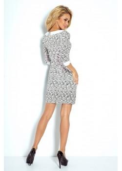 Сива мини рокля с яка 111-3