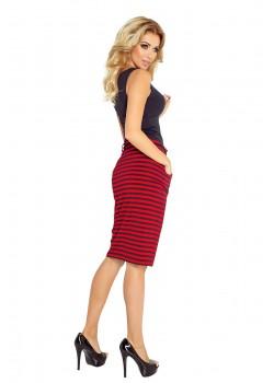 Раирана миди пола в червен цвят 127-1