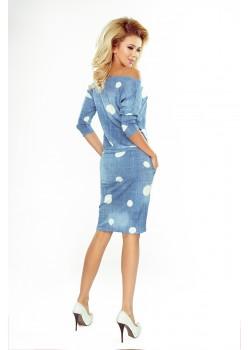 Ежедневна миди рокля в дънков цвят 13-74