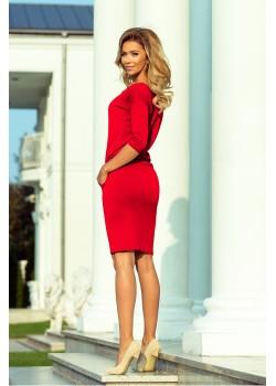 Ежедневна миди рокля в червено 13-96