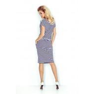 Спортно-елегантна миди рокля в тъмносиньо 139-2