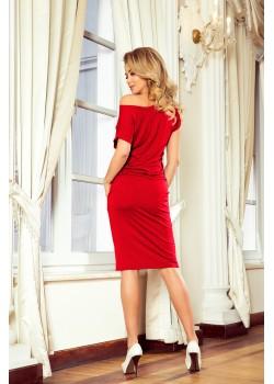 Спортно-елегантна червена рокля 139-4