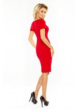 Червена рокля с къс ръкав 150-2