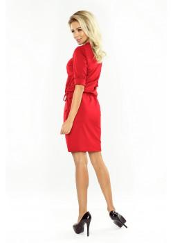 Червена рокля с 3/4 ръкави 161-11