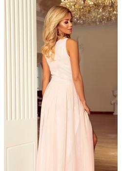 Официална дълга рокля в цвят праскова 166-4