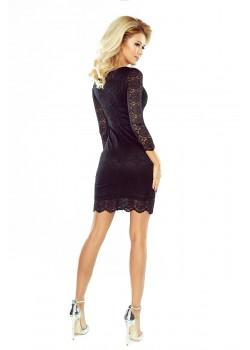 Черна дантелена мини рокля 180-1