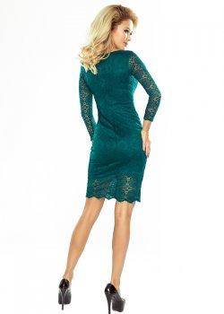 Дантелена мини рокля в зелен цвят 180-2