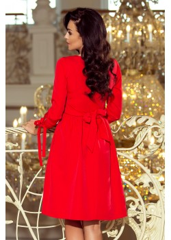 Елегантна миди рокля с връзки на ръкавите 195-4