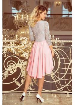 Елегантна асиметрична рокля в розово и сиво 210-5
