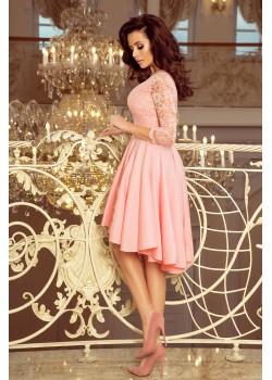 Елегантна асиметрична рокля в пастелно розово 210-7