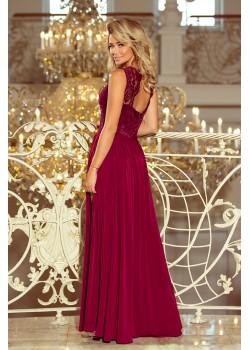 Официална дълга рокля с дантелено деколте 211-2