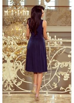 Тъмносиня миди рокля 219-1
