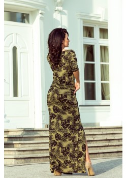 Ежедневна дълга рокля в цвят каки 220-2