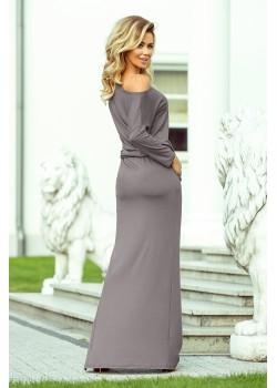 Ежедневна дълга рокля в сив цвят 220-6