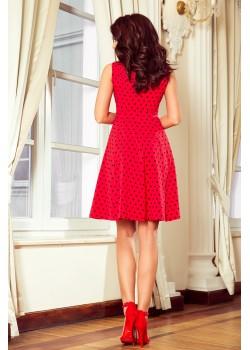 Ежедневна червена рокля на точки 238-1