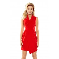 Асиметрична мини рокля в червено 153-2