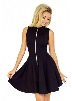 Черна миди рокля с цип 123-10