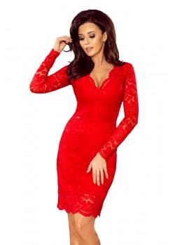 Червена дантелена миди рокля с дълги ръкави 170-6