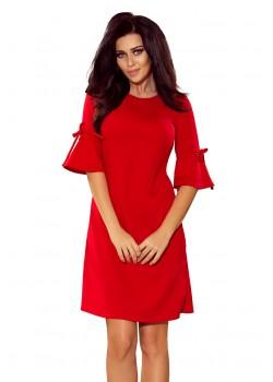 Червена рокля с разкроени ръкави 217-1