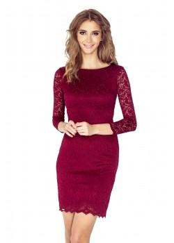 Дантелена къса рокля в цвят бордо 145-2