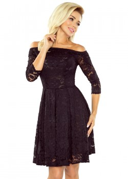 Дантелена миди рокля в черно 168-1