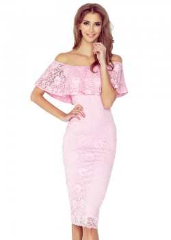 Дантелена миди рокля в розово MM-013-2