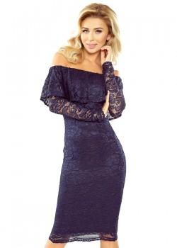 Дантелена миди рокля в синьо MM-021-2