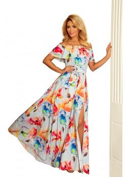 Дълга рокля с цветен десен 194-1