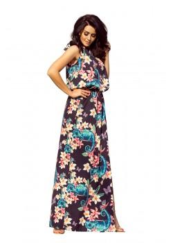 Дълга рокля с десен на цветя 191-3