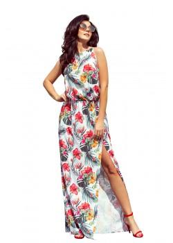 Дълга рокля с десен на цветя 191-4