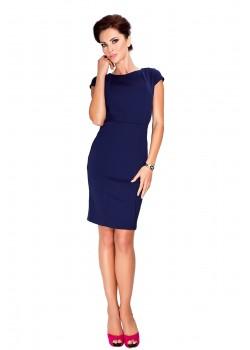 Елегантна миди рокля в тъмносин цвят 37-2