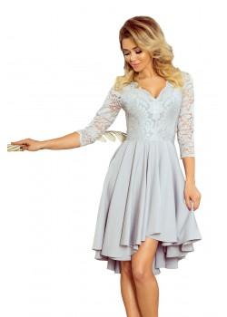 Елегантна асиметрична рокля в сив цвят 210-9