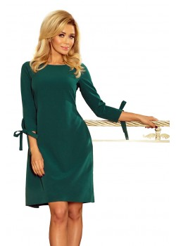 Елегантна миди рокля с връзки на ръкавите 195-1