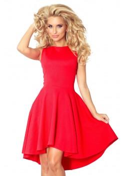 Елегантна миди рокля в червен цвят 66-12