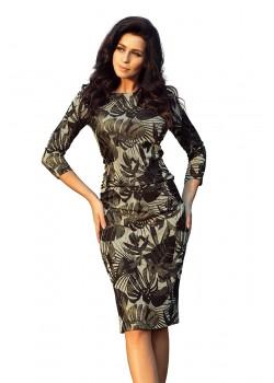 Елегантна миди рокля в цвят каки 59-7