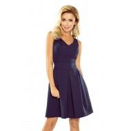 Елегантна миди рокля в тъмносин цвят 160-2