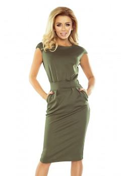 Елегантна миди рокля в зелен цвят 144-5