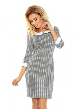 Елегантна мини рокля с яка в сиво 111-4