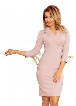 Елегантна рокля в цвят пудра 237-1