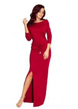 Ежедневна дълга рокля в цвят бордо 220-3