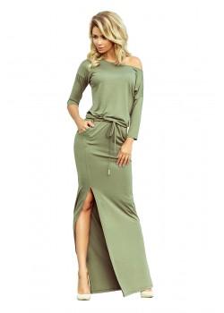 Ежедневна дълга рокля в цвят каки 220-1