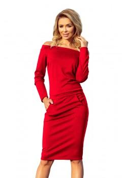 Ежедневна миди рокля в червен цвят 225-3