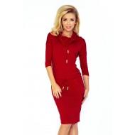 Ежедневна миди рокля в цвят бордо 44-19